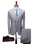 povoljno Odijela-Plav / Svjetlo-siva / Tamnosive Jednobojni Standardni kroj Poliester Odijelo - Šiljasti Droit 2 boutons / odijela