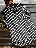 baratos Camisas Femininas-Mulheres Camisa Social Listrado Decote V Azul Claro
