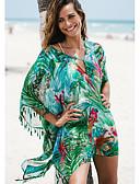 ราคาถูก ชุดว่ายน้ำและบิกินีผู้หญิง-สำหรับผู้หญิง ใบไม้สีเขียวที่มีสามแฉก กระโปรง รวมด้วย ชุดว่ายน้ำ - ลายดอกไม้ ขนาดเดียว ใบไม้สีเขียวที่มีสามแฉก