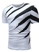 זול טישרטים לגופיות לגברים-פסים צווארון עגול כותנה, טישרט - בגדי ריקוד גברים דפוס לבן