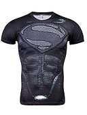 ราคาถูก จั้มสูทผู้ชาย & ชุดสวมทั้งตัว-สำหรับผู้ชาย ขนาดพิเศษ เสื้อเชิร์ต ลายพิมพ์ คอกลม กราฟฟิค สีดำ