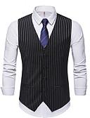ราคาถูก เบลเซอร์ &สูทผู้ชาย-สำหรับผู้ชาย ขนาดของยุโรป / อเมริกา เสื้อกั๊ก คอวี เส้นใยสังเคราะห์ สีดำ / สีน้ำเงินกรมท่า / สีเทา