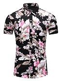 billige Herreskjorter-Bomull Tynn Klassisk krage Store størrelser Skjorte Herre - Blomstret, Trykt mønster Svart / Kortermet