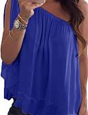 baratos Camisetas Femininas-Mulheres Blusa Frufru / Assimétrico, Sólido Ombro a Ombro Solto Verde Tropa / Primavera / Verão / Outono