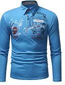 Χαμηλού Κόστους Ανδρικά μπλουζάκια και φανελάκια-Ανδρικά Μέγεθος EU / US Polo Γεωμετρικό Κολάρο Πουκαμίσου Μαύρο