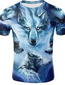 ราคาถูก เสื้อยืดและเสื้อกล้ามผู้ชาย-สำหรับผู้ชาย เสื้อเชิร์ต คอกลม สัตว์ สีน้ำเงิน