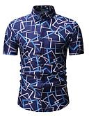 baratos Camisas Masculinas-Homens Camisa Social Estampado, Geométrica Colarinho Clássico Azul / Manga Curta