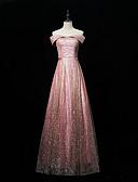 Χαμηλού Κόστους Φορέματα Παρανύμφων-Γραμμή Α Ώμοι Έξω Μακρύ Με πούλιες Φόρεμα Παρανύμφων με Πούλιες / Φανταχτερό