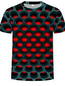 billige T-skjorter og singleter til herrer-Rund hals T-skjorte Herre - Fargeblokk / 3D, Trykt mønster Gatemote / overdrevet Lilla / Kortermet