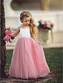 ราคาถูก เมกซิเดรส-เด็ก เด็กผู้หญิง พื้นฐาน Dusty Rose สีพื้น เสื้อไม่มีแขน ขนาดใหญ่ กระโปรงชุด สีฟ้า