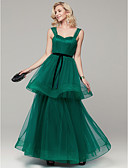 povoljno Maturalne haljine-A-kroj Srcoliki izrez Do poda Til Prom / Formalna večer Haljina s Falte po TS Couture®