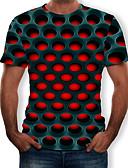 billige T-skjorter og singleter til herrer-Rund hals T-skjorte Herre - Geometrisk / 3D, Trykt mønster Gatemote / overdrevet Lilla