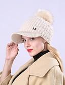 billige Hatter til damer-Unisex Aktiv Grunnleggende søt stil Solhatt Ensfarget Akryl Høst Vinter Rød Rosa Beige