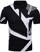 baratos Pólos Masculinas-Homens Polo Geométrica Colarinho de Camisa Preto