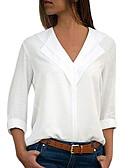 baratos Camisas Femininas-Mulheres Tamanhos Grandes Blusa Sólido Decote V Verde Tropa