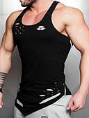 ราคาถูก เสื้อยืดและเสื้อกล้ามผู้ชาย-สำหรับผู้ชาย ขนาดของยุโรป / อเมริกา เสื้อกล้าม ลายพิมพ์ คอกลม สีพื้น ขาว