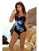 ราคาถูก ชุดบิกินี-สำหรับผู้หญิง โบโฮ สีน้ำเงิน ทับทิม underwire Cheeky ชิ้นหนึ่ง ชุดว่ายน้ำ - ลายดอกไม้ ลายพิมพ์ L XL XXL สีน้ำเงิน