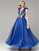 זול שמלות נשף-גזרת A צלילה עד הריצפה אורגנזה / סאטן נשף רקודים שמלה עם אפליקציות על ידי TS Couture® / ערב רישמי