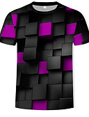 ราคาถูก เสื้อยืดและเสื้อกล้ามผู้ชาย-สำหรับผู้ชาย เสื้อเชิร์ต ฝ้าย ลายพิมพ์ คอกลม 3D สายรุ้ง