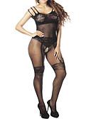 olcso Szexi testek-Női Háló Body Hálóruha Egyszínű Fekete Egy méret