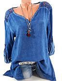 povoljno Majica-Veći konfekcijski brojevi Majica s rukavima Žene Jednobojni V izrez Lila-roza