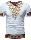 ราคาถูก เสื้อโปโลสำหรับผู้ชาย-สำหรับผู้ชาย เสื้อเชิร์ต ฝ้าย ปัก / ลายพิมพ์ คอวี เพรียวบาง Tribal สีน้ำเงิน