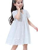 Χαμηλού Κόστους Φορέματα για κορίτσια-Παιδιά Κοριτσίστικα Βασικό Μονόχρωμο Με κοψίματα Κοντομάνικο Ως το Γόνατο Φόρεμα Λευκό