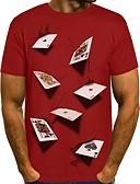 Χαμηλού Κόστους Ανδρικά μπλουζάκια και φανελάκια-Ανδρικά T-shirt 3D Στρογγυλή Λαιμόκοψη Μαύρο / Μακρυμάνικο