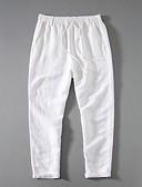 ราคาถูก กางเกงผู้ชาย-สำหรับผู้ชาย พื้นฐาน กางเกง Chinos กางเกง - สีพื้น ผ้าลินิน ผ้าขนสัตว์สีธรรมชาติ สีเทา สีฟ้า XXL XXXL XXXXL