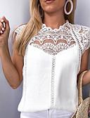 ราคาถูก เสื้อเอวลอยสำหรับผู้หญิง-สำหรับผู้หญิง เสื้อสตรี ลูกไม้ หลวม สีพื้น ขาว / ฤดูใบไม้ผลิ / ฤดูร้อน