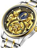 זול שעונים מכאניים-בגדי ריקוד גברים שעון מכני אוטומטי נמתח לבד כסף עמיד במים זוהר בחושך ירח שלב אנלוגי פאר אופנתי אסטרונומי מפואר - לבן שחור כחול
