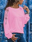 baratos Camisetas Femininas-Mulheres Tamanhos Grandes Camiseta Patchwork, Sólido Solto Preto
