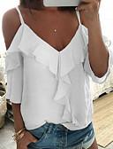 Χαμηλού Κόστους T-shirt-Γυναικεία Μπλούζα Μονόχρωμο Τιράντες Λεπτό Με Βολάν / Σιφόν / Με τιράντες Λευκό / Άνοιξη / Καλοκαίρι / Φθινόπωρο