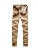 ราคาถูก กางเกงผู้ชาย-สำหรับผู้ชาย พื้นฐาน กางเกง Chinos กางเกง - สีพื้น สีกากี เทาอ่อน สีน้ำเงินกรมท่า 34 36 38