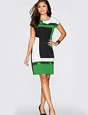 baratos Blusas Femininas-Mulheres Básico Delgado Bainha Vestido - Patchwork, Estampa Colorida Altura dos Joelhos