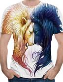 povoljno Muške majice i potkošulje-Veličina EU / SAD Majica s rukavima Muškarci Color block / 3D / Životinja Okrugli izrez Print Obala
