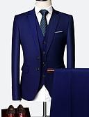 Χαμηλού Κόστους Κοστούμια-Ανδρικά Μεγάλα Μεγέθη Στολές Κλασικό Πέτο Πολυεστέρας Κρασί / Μπλε Απαλό / Βαθυγάλαζο / Λεπτό
