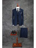 billiga iPhone-fodral-Blå Enfärgad Standardpassform Bomull / Polyester Kostym - Trubbig Singelknäppt Två knappar / kostymer