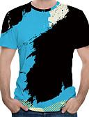 baratos Camisas Masculinas-Homens Camiseta Estampa Colorida Decote Redondo Preto