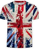 baratos Camisetas & Regatas Masculinas-Homens Camiseta Moda de Rua / Militar Estampado, Estampa Colorida / 3D Decote Redondo Arco-íris / Manga Curta