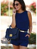 ราคาถูก จั๊มสูทและเสื้อคลุมสำหรับผู้หญิง-สำหรับผู้หญิง พื้นฐาน สีเหลือง สีน้ำเงิน ทับทิม ดินสอ เพรียวบาง Romper Onesie, สีพื้น ผ้าชีฟอง S M L ฤดูใบไม้ผลิ ฤดูร้อน ตก / ฤดูหนาว