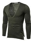 ราคาถูก เสื้อยืดและเสื้อกล้ามผู้ชาย-สำหรับผู้ชาย เสื้อเชิร์ต คอวี สีพื้น สีดำ