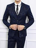 billige Dresser-Svart / Navyblå Mønstret Standard Polyester Dress - Med hakk Enkelt Brystet To-knapp / drakter