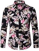ราคาถูก เสื้อเชิ้ตผู้ชาย-สำหรับผู้ชาย ขนาดของยุโรป / อเมริกา เชิร์ต ลายพิมพ์ เพรียวบาง ลายดอกไม้ สีดำ / แขนยาว