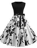 billige Kjoler med trykk-Dame Vintage 1950-tallet A-linje Kjole - Blomstret Frukt, Trykt mønster Knelang