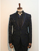 お買い得  スーツ-ブラック パターン柄 スタンダードフィット コットン / ポリエステル スーツ - ショールカラー シングルブレスト 一つボタン