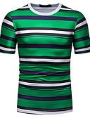 ราคาถูก เสื้อยืดและเสื้อกล้ามผู้ชาย-สำหรับผู้ชาย ขนาดของยุโรป / อเมริกา เสื้อเชิร์ต คอกลม ลายแถบ ใบไม้สีเขียวที่มีสามแฉก