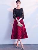 billige Cocktailkjoler-A-linje Besmykket Telang Blonder Fargeblokk Cocktailfest / Ferie Kjole 2020 med Belte / bånd