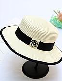 ราคาถูก หมวกสตรี-สำหรับผู้ชาย ทุกเพศ สีพื้น Straw ลูกไม้ พื้นฐาน-หมวกบัคเก็ต หมวกสาน ดวงอาทิตย์หมวก ทุกฤดู ขาว ผ้าขนสัตว์สีธรรมชาติ สีกากี