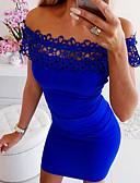 זול שמלות מודפסות-סירה מתחת לכתפיים מעל הברך תחרה שמלה צינור רזה בגדי ריקוד נשים